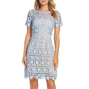 Eliza J Floral Guipure-Lace Blue Midi Dress